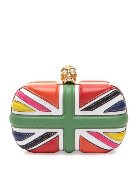 Britannia Skull-Clasp Clutch Bag, Multicolor