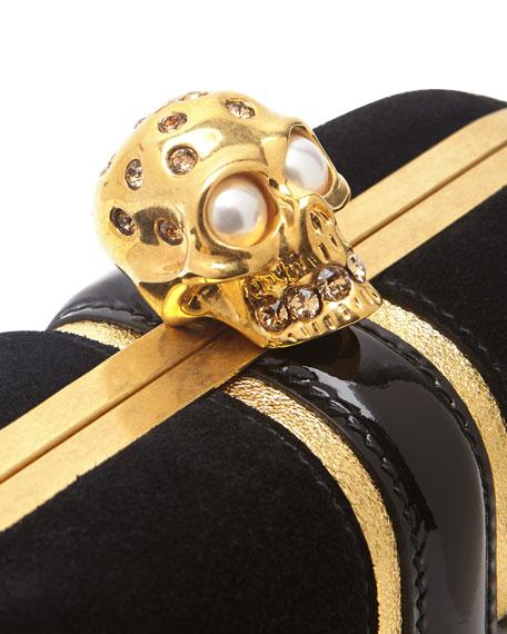 Britannia Skull-Clasp Clutch Bag, Black