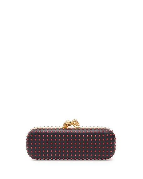 Bicolor Twin-Skull Box Clutch Bag, Red/Black