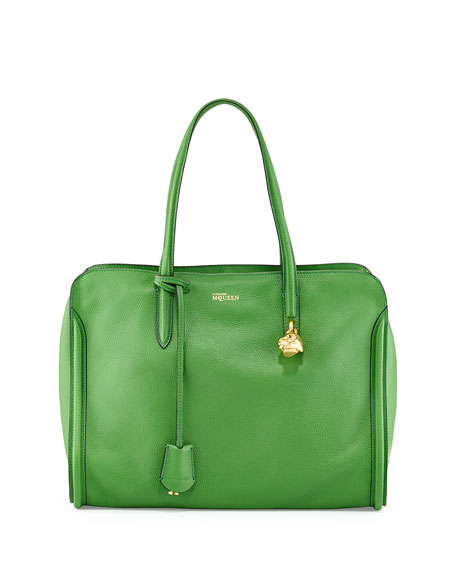 Skull Padlock Zip-Around Tote Bag, Green