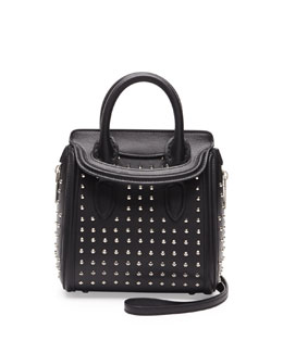 Alexander McQueen Heroine Studded Mini Satchel Bag, Black