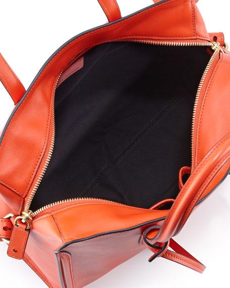 Skull Padlock Zip-Around Satchel Bag, Orange