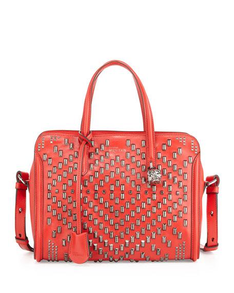 Studded Padlock Zip-Around Satchel Bag, Red
