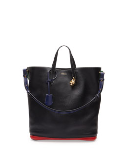 Alexander McQueen Skull Padlock Colorblock North-South Tote Bag, Black