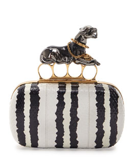 Alexander McQueen Snakeskin Panther Knuckle-Duster Clutch Bag, Black/White