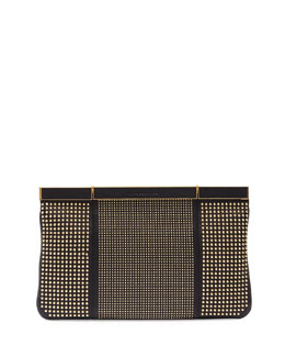 Alexander McQueen Studded Hexagon Frame Clutch Bag, Black