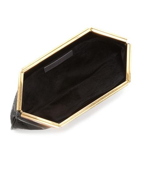 Patchwork Hexagon Frame Clutch Bag, Black/Red