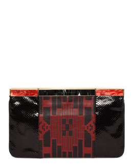 Alexander McQueen Patchwork Hexagon Frame Clutch Bag, Black/Red