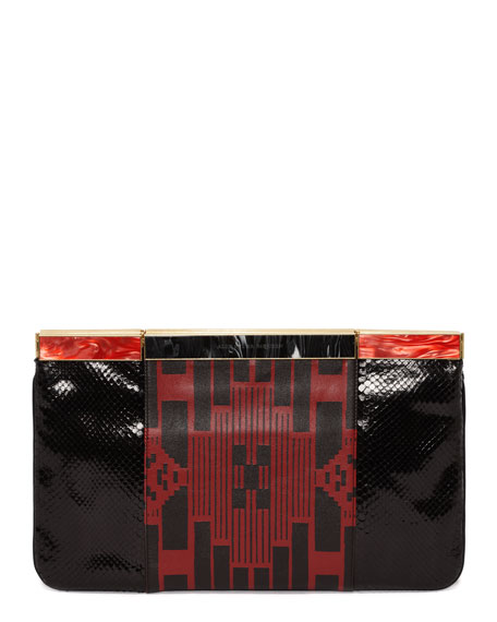 Patchwork Hexagon Frame Clutch Bag, Black/Red