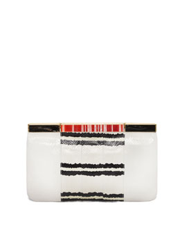 Alexander McQueen Snakeskin Hexagon Frame Clutch Bag