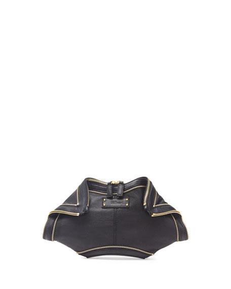 Alexander McQueen De-Manta City Zip Clutch Bag, Black