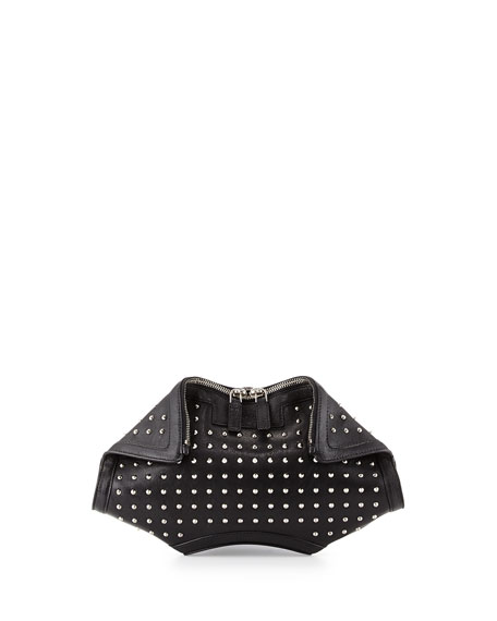 De-Manta City Stud Small Clutch Bag, Black