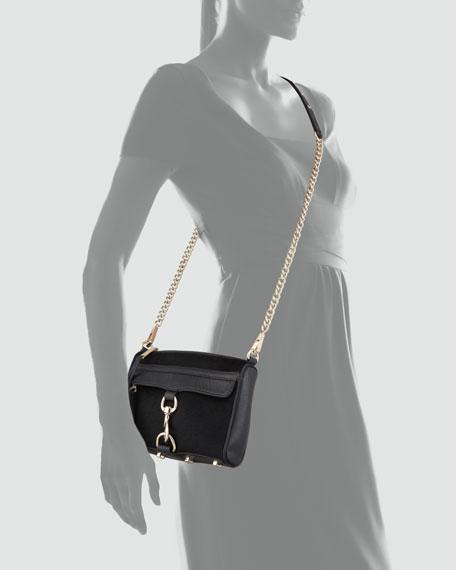 Mini MAC Calf Hair Crossbody Bag, Black