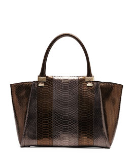 Lanvin Trilogy Snake-Print Leather Tote Bag, Gold