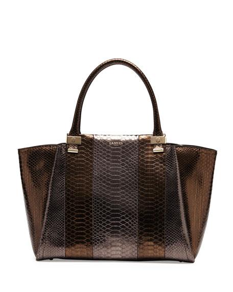 Trilogy Snake-Print Leather Tote Bag, Gold