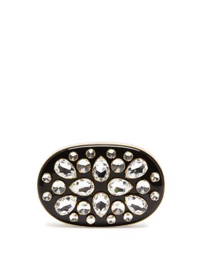 Lanvin Crystal Oval Minaudiere, Black