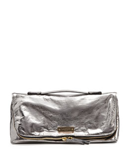 Lanvin Large Metallic Fold-Over Clutch Bag, Silver