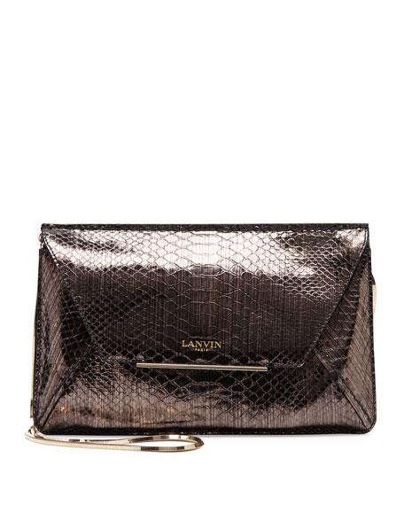 Snake-Print Envelope Crossbody Bag, Bronze