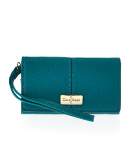 Cole Haan Village Leather Tech Wallet, Pendant Teal