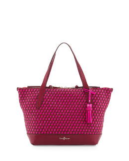 Cole Haan Parker Woven Zip-Top Shopper Tote Bag, Winery/Orchid
