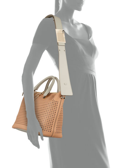 Baylee Perforated Bag, Gray