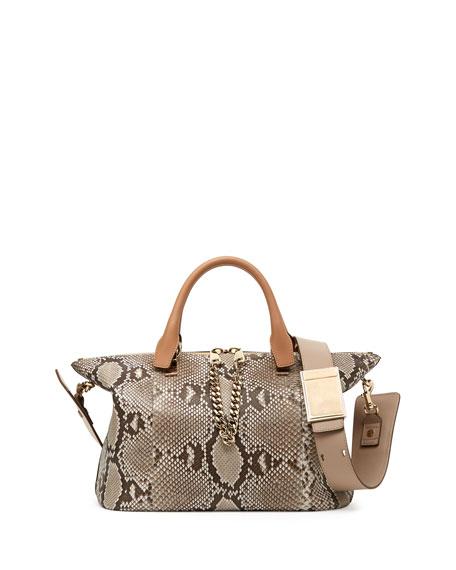 Baylee Python Shoulder Bag, Beige