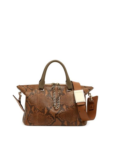 Baylee Python Medium Shoulder Bag, Brown