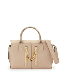 Chloe Cate Medium Double-Zip Satchel Bag, Beige