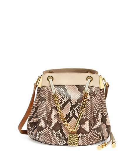 Camille Small Python Crossbody Bag, Pink