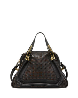 Chloe Paraty Perforated Medium Shoulder Bag, Black