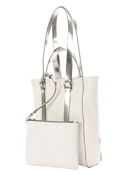 Leather North-South Mini Tote Bag, White/Gray