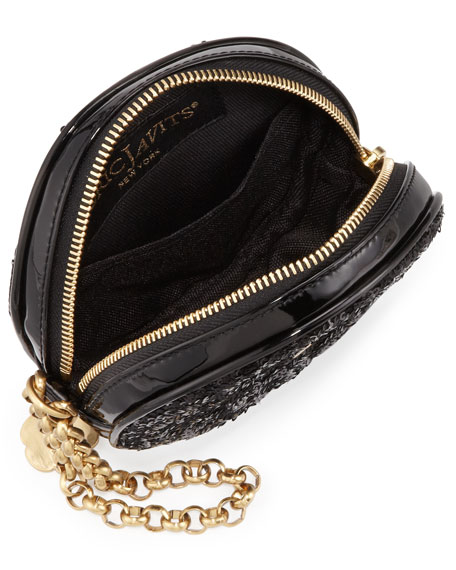 Sequin Round Wristlet Bag, Black