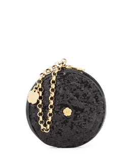 Eric Javits Sequin Round Wristlet Bag, Black