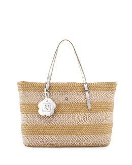 Eric Javits Jav III Squishee Striped Tote Bag, Frost/White