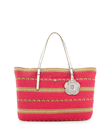 Jav III Squishee Striped Tote Bag, Fuchsia Mix