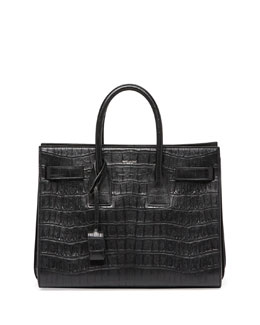 Saint Laurent Sac de Jour Croc-Print Small Carryall Bag, Black