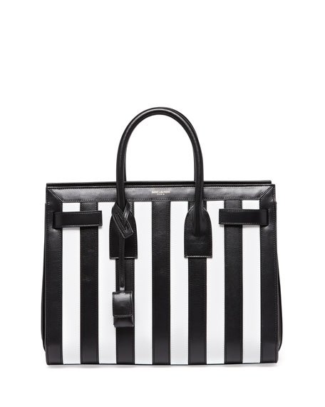 Sac de Jour Striped Small Carryall Bag, Black/White