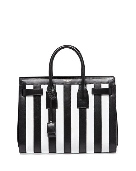 Sac de Jour Striped Small Carryall Bag, Black/White