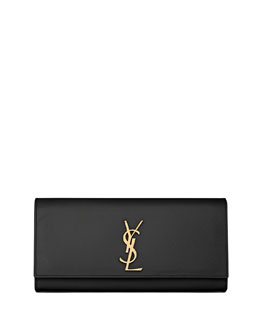 Saint Laurent Cassandre Calfskin Clutch Bag, Black