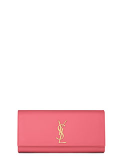 Saint Laurent Cassandre Calfskin Clutch Bag, Pink