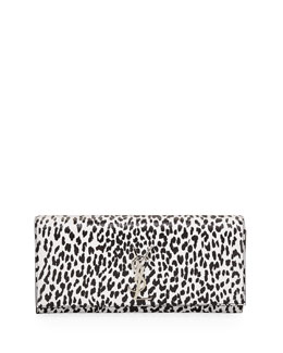 Saint Laurent Cassandre Leopard-Print Clutch Bag, Black/White
