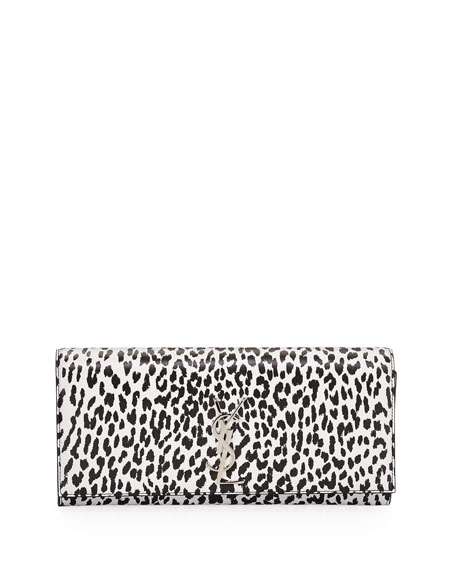 Cassandre Leopard-Print Clutch Bag, Black/White