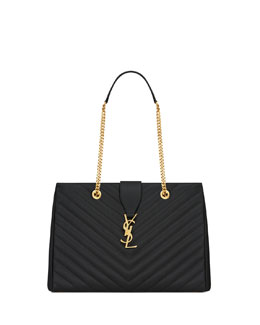 Saint Laurent Monogramme Chain-Strap Shopper Bag, Black