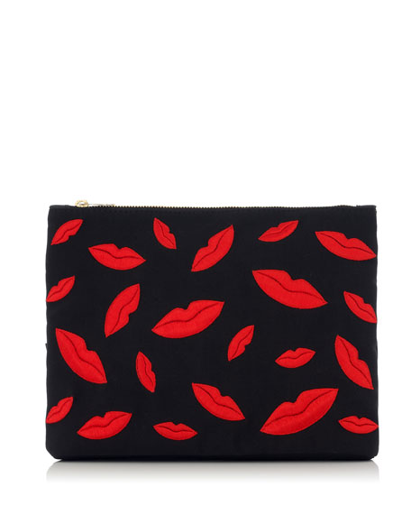 Kiss Me Lips Zip Pouch, Black