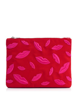 Charlotte Olympia Kiss Me Lips Zip Pouch, Red