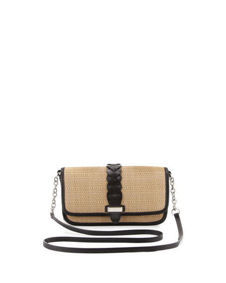 Bedford Straw Crossbody Bag, Black