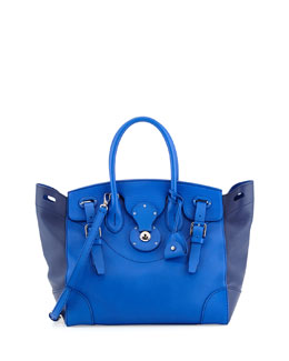 Ralph Lauren Soft Ricky 33 Medium Bicolor Satchel Bag, Royal