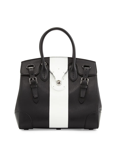 Soft Ricky 33 Bicolor Satchel Bag, Black/White