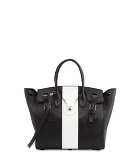 Ralph Lauren Soft Ricky 33 Bicolor Satchel Bag, Black/White