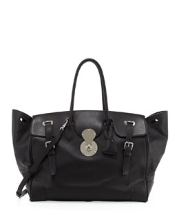 Ralph Lauren Ricky 40 Large Calfskin Satchel Bag , Black